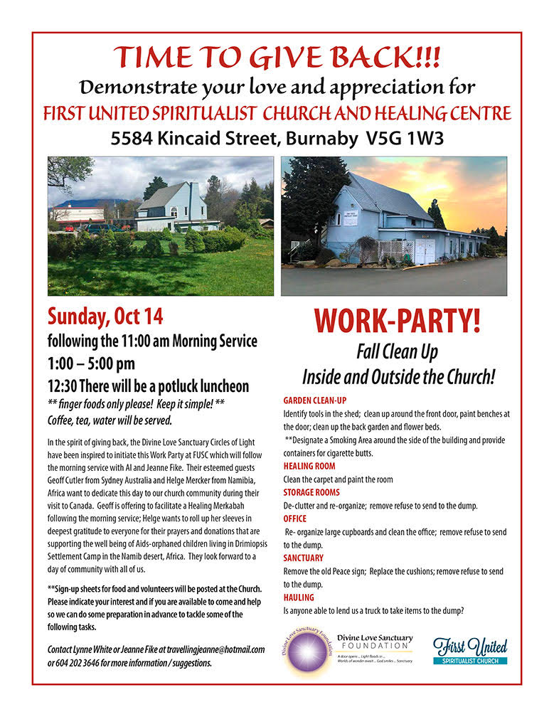 Fall Clean Up Work Party First United Spiritualist Church Of Vancouver